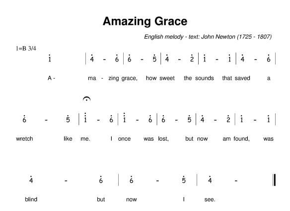 Amazing grace - Jianpu